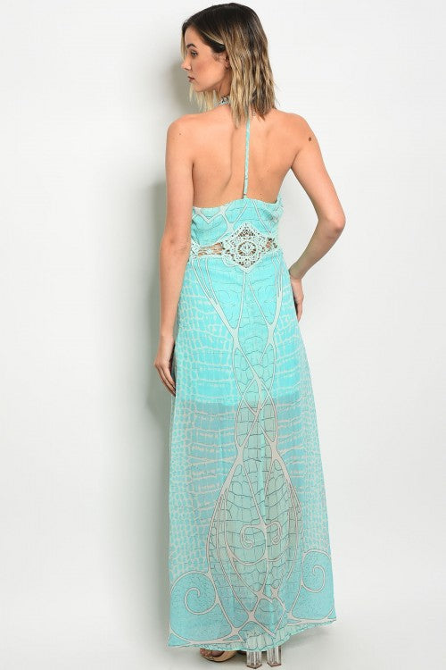 MINT BLUE CROCHET DRESS D1016