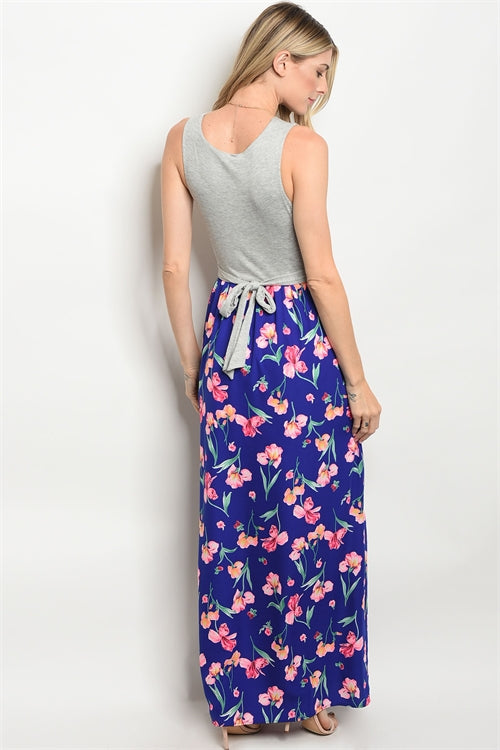 GRAY ROYAL FLORAL DRESS