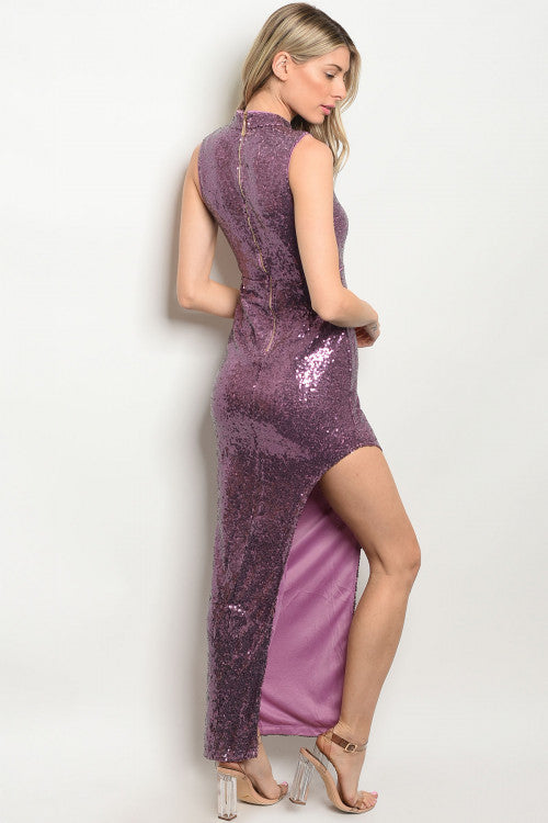 LAVENDER WITH SEQUINS DRESS D8476