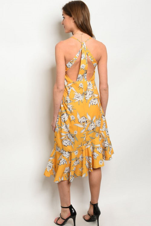 YELLOW FLORAL DRESS D7017