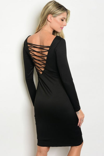 BLACK LACE UP DRESS DTD5216