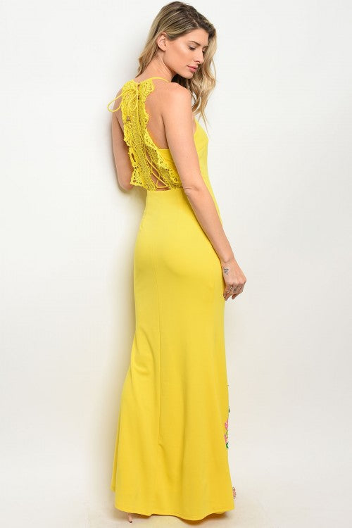 YELLOW WITH FLOWER PRINT DRESS D07088