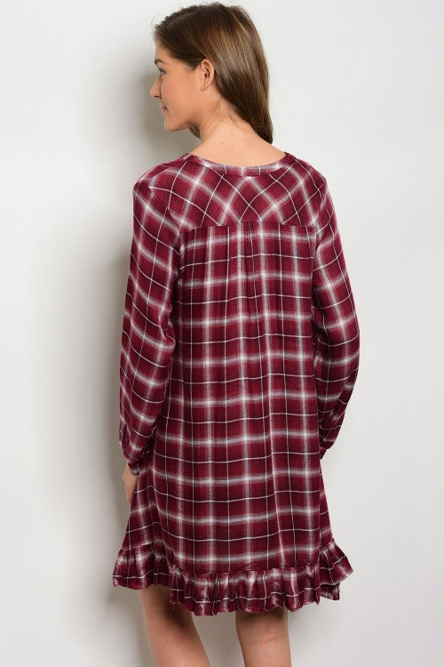 BURGUNDY CHECKERED DRESS D2327