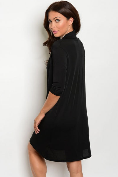 BLACK DRAPE DRESS D4005