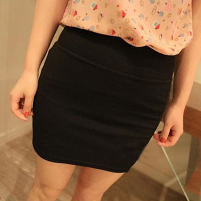 Sexy Elastic Pleated High Waist Slim Mini Skirt