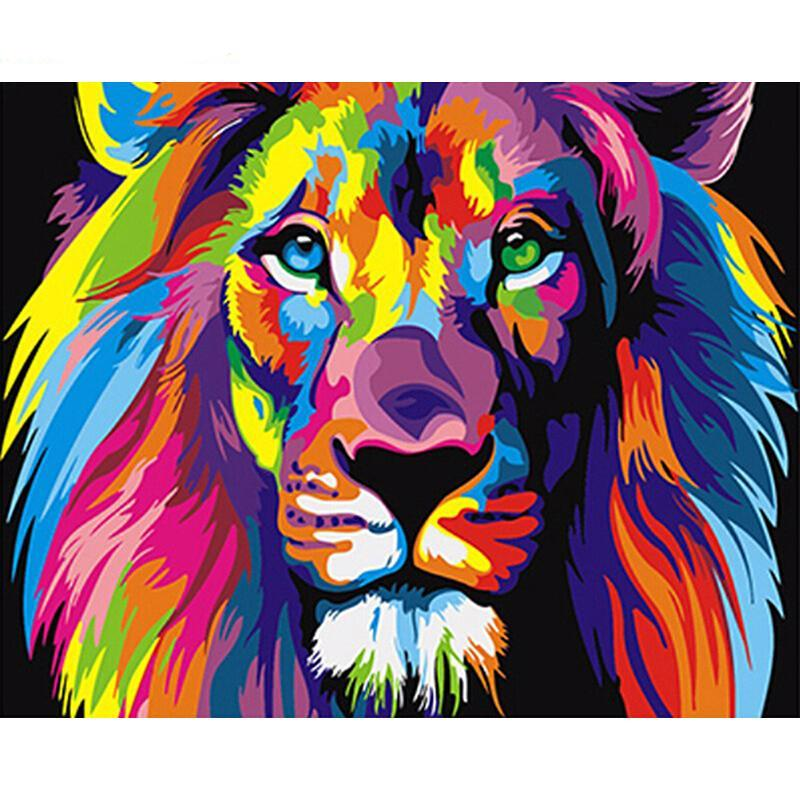 Digital Frameless Colorful Lion Painting