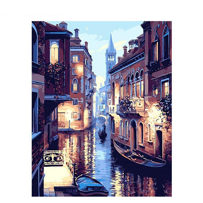 Venice Night Romantic Frameless Wallpaper Decor