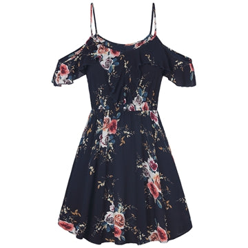 Casual Floral Print Spaghetti Shoulder Dress