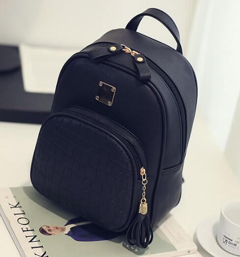 Stone Sequined Preppy Style Leather Backpack
