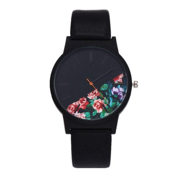 Vintage Leather Top Floral Pattern Watch