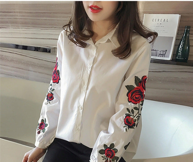 Casual Long Sleeve Floral Embroidery Shirt
