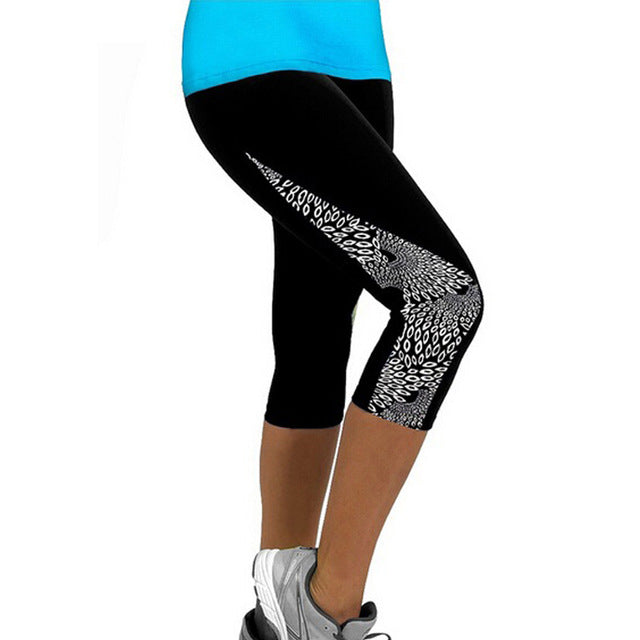 High Waist Capris Printed Black Milk Legging