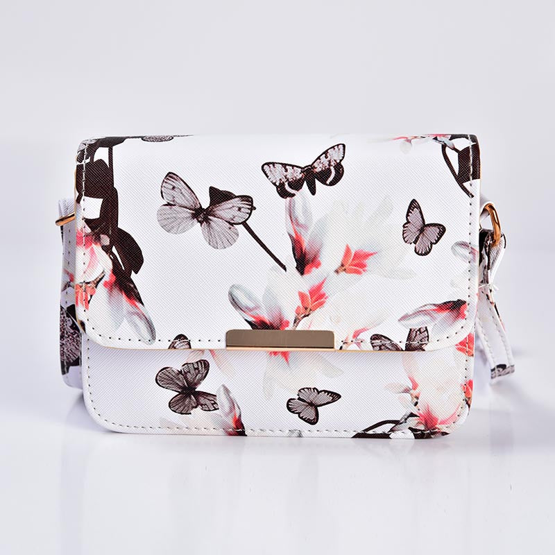 Floral leather Shoulder Bag
