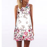 Casual Chiffon Floral Print Sleeveless Dress