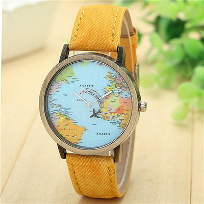 Denim Global Travel By Plane Map Watch