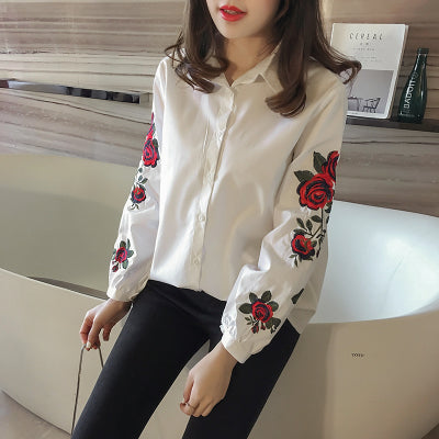 Casual Long Sleeve Floral Embroidery Top