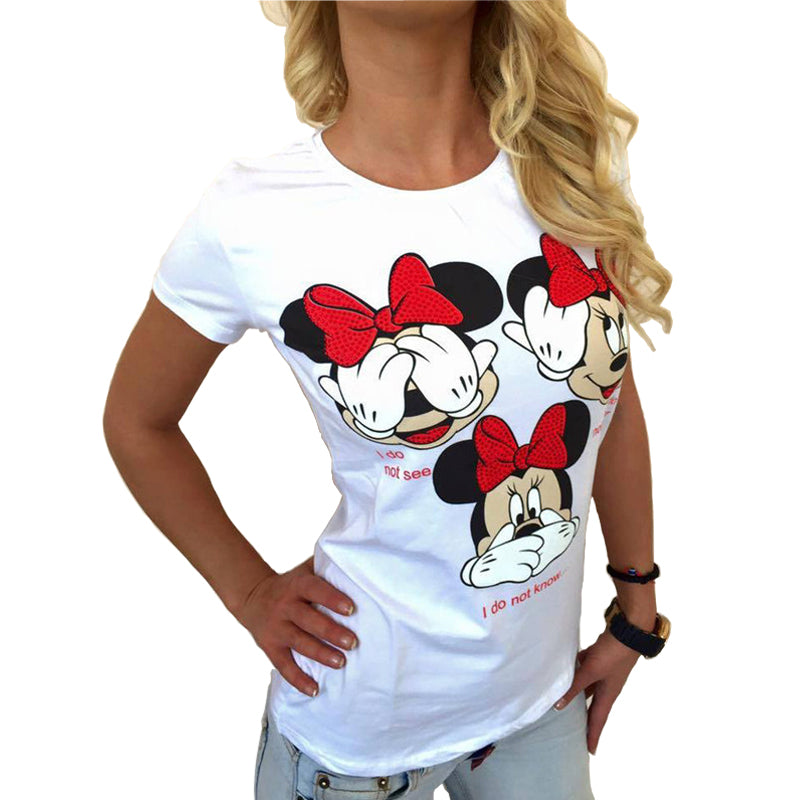 Sexy O-Neck Cartoon Print Tees Top
