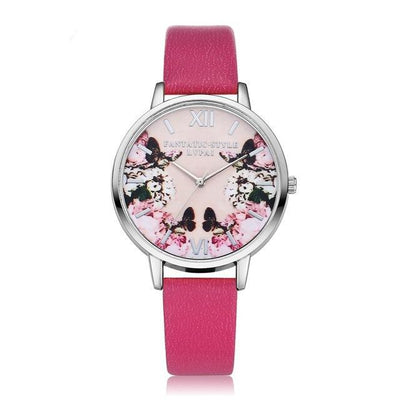 Luxury Butterfly Leather Round Watch