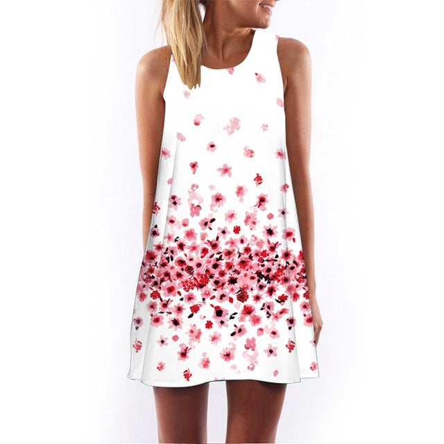 Casual Sleeveless Heart Print Above Knee Dress