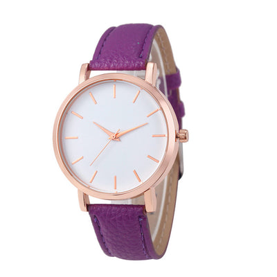 Unisex Fashion Leather Stainless Wristwatch