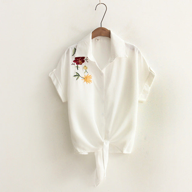 Sexy Short Sleeve Embroidery Shirt