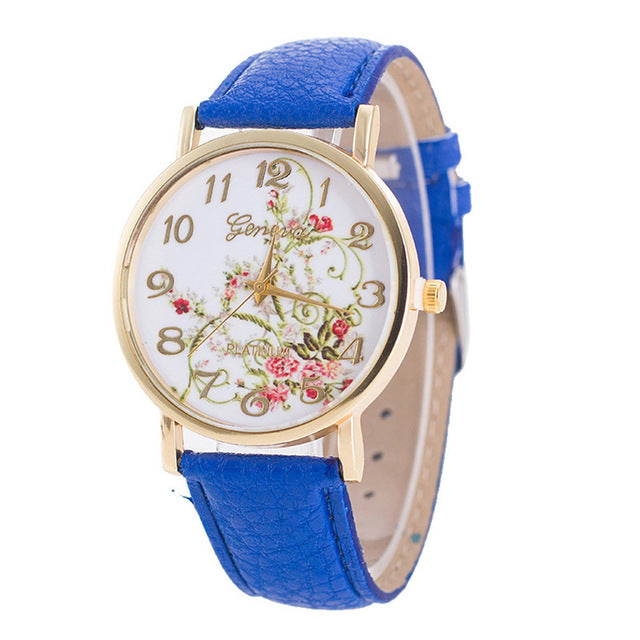 Geneva Flowers Wrist Watch