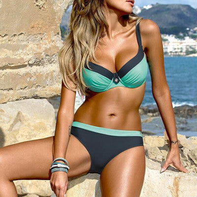 Slinky Striped Retro Bikini Swimwear