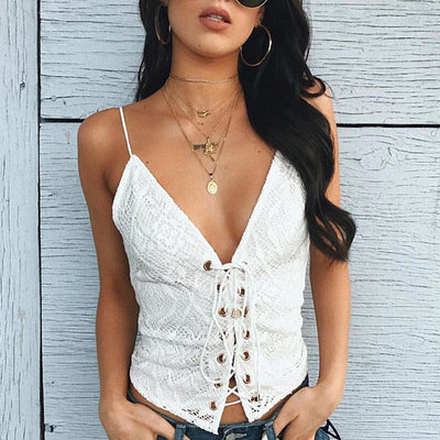 Sexy V Neck Strap Lace Tank Top