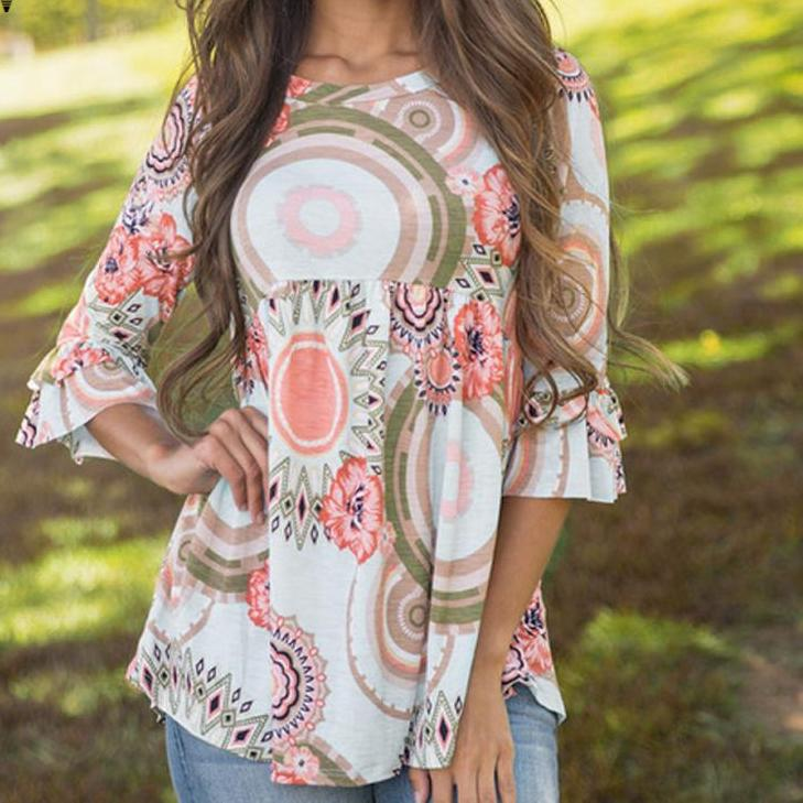 Casual O Neck Floral Print Blouse