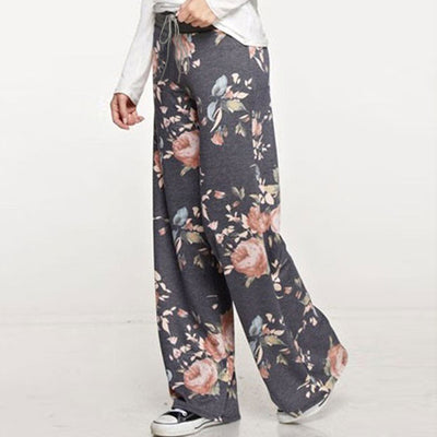 Drawstring Wide Leg Loose Straight Trousers