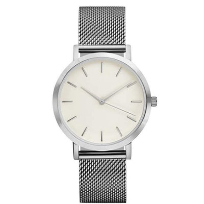 Crystal Stainless Steel Analog Wristwatch
