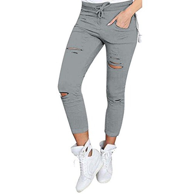 Casual Elastic Holes Destroyed Knee Trouser