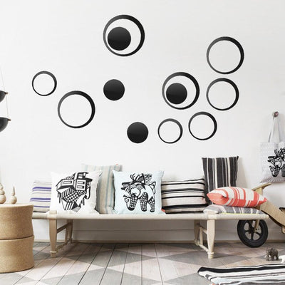 Vinyl Art Circles Wall Mirror Decor