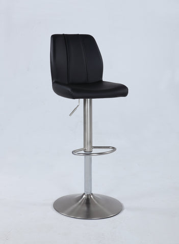 Chintaly 0165-AS-BLK Pneumatic swivel stool w/ stitching