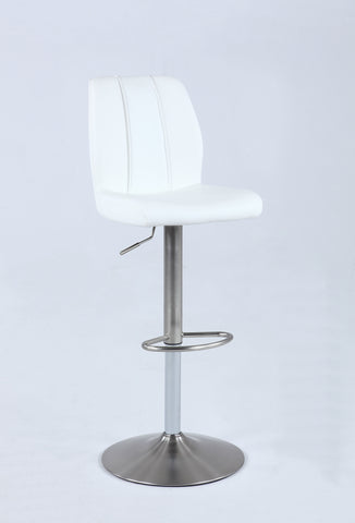 Chintaly 0165-AS-WHT Pneumatic swivel stool w/ stitching