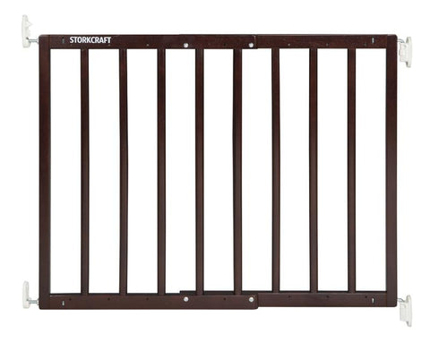 Storkcraft 01720-309 Wooden Essentials Ez-Thru Safety Gate-Espresso - Peazz.com