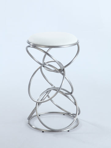 Chintaly 0545-BS-WHT Interlocking Multi-Ring Bar Stool