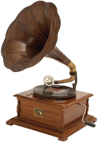 Benzara 05669 Wood Metal Gramophone To Match Passion For Music