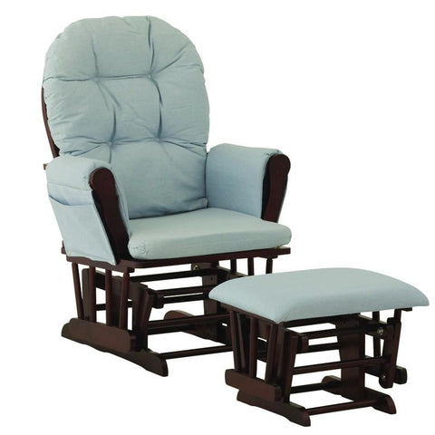 Storkcraft 06550-634 Hoop Glider And Ottoman Cherry W/Light Blue Cushions - Peazz.com