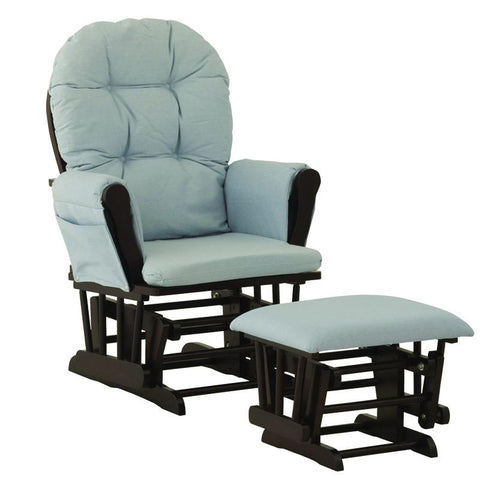 Storkcraft 06550-639 Hoop Glider & Ottoman-Espresso W/Light Blue Cushions - Peazz.com