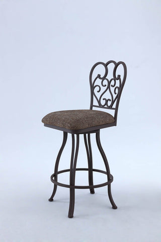 Chintaly 0709-CS-BRW Metal Swirl-Back Swivel Counter Stool