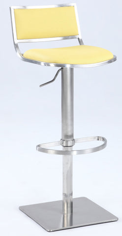 Chintaly 0895-AS-YLW Open Back Contemporary Pneumatic Stool
