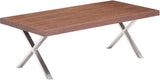 Zuo Modern 100087 Renmen Coffee Table Color Walnut Brushed Stainless Steel Finish - Peazz.com - 1