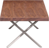 Zuo Modern 100087 Renmen Coffee Table Color Walnut Brushed Stainless Steel Finish - Peazz.com - 2