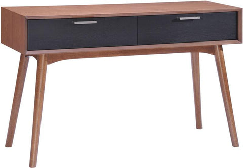 Zuo Modern 100096 Liberty City Console Table Color Walnut & Black Rubberwood Finish - Peazz.com - 1