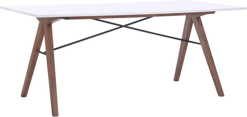 Zuo Modern 100143 Saints Dining Table Color Walnut & White Metal, Rubberwood Finish