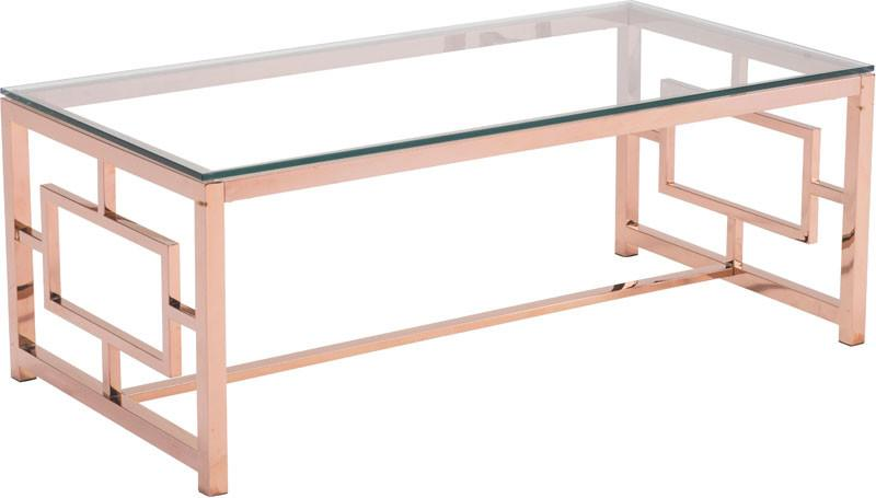 Zuo Modern 100184 Geranium Coffee Table Color Rose Gold Polished Stainless Steel Finish