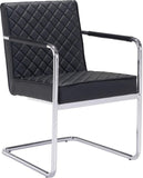 Zuo Modern 100189 Quilt Dining Chair Color Black Chromed Steel Finish - Peazz.com - 1