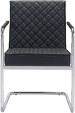Zuo Modern 100189 Quilt Dining Chair Color Black Chromed Steel Finish - Peazz.com - 3