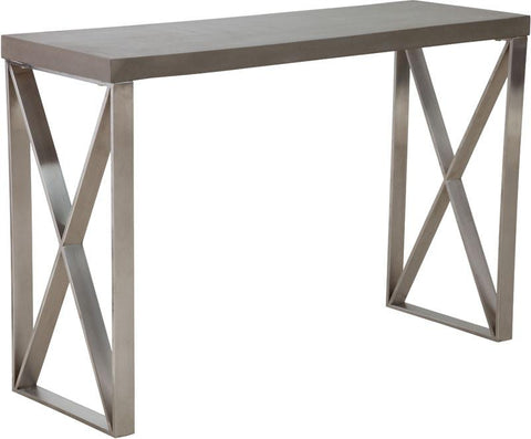 Zuo Modern 100203 Paragon Console Table Color Cement Brushed Stainless Steel Finish - Peazz.com - 1